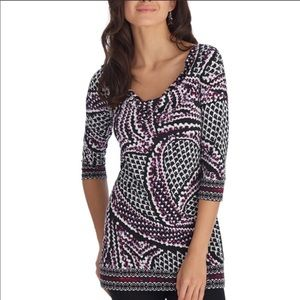 WHBM 3/4 Sleeve Patterned Stretch Tunic
